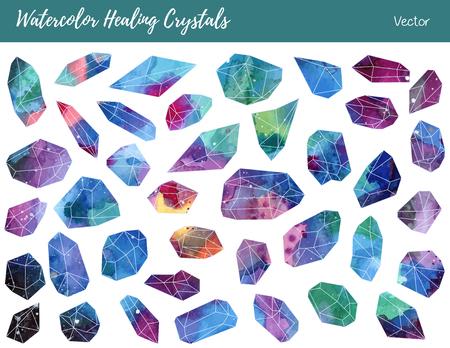 Sammlung von bunten Heilkristalle, isoliert auf einem weißen Hintergrund. Aquarell von Hand bemalt grün, blau, rosa, lila Aquamarin Mineralien, Edelsteine.