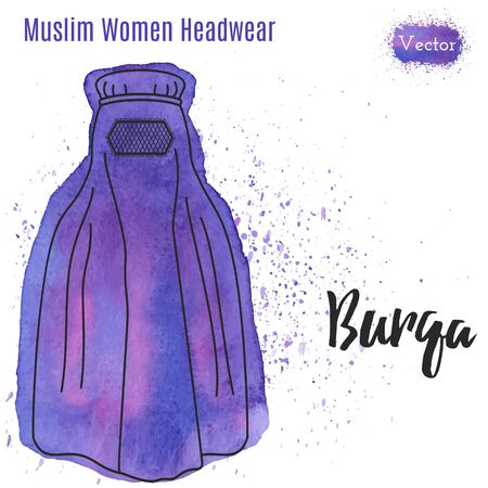 burqa: Arabic woman head wear, Burqa in outline style on abstract watercolor blot with splashes. Muslim traditional female headgear isolated on a white background.