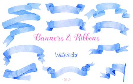 watercolour: Set of watercolor blue ribbons and banners for text. Graphic design elements isolated on white background. Hand painted abstract, bright, colorful stripes. Illustration