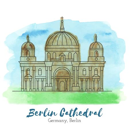 Berlin Cathedral in black thin line style on hand painted unique watercolor abstract background. European landmark.