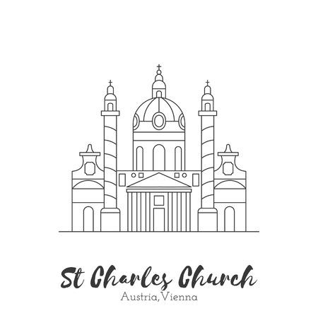 tourist attraction: Vienna, Austria. St. Charles Church in black thin line isolated on white background. European landmark. Icon architectural monument and world tourist attraction. Illustration