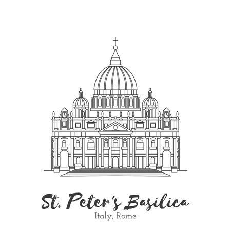 megalopolis: Rome, Vatican, Italy. St. Peters Basilica in black thin line isolated on white background. European landmark.