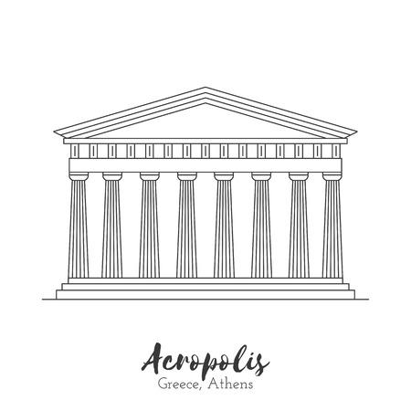 acropolis: Athens, Greece. Acropolis in black thin line isolated on white background. European landmark. Icon architectural monument and world tourist attraction. Illustration