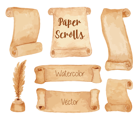Set of hand painted watercolor ancient paper scrolls and pen feather in the inkwell. Grunge banners and scrolls. Antique objects, design elements isolated on a white background. Raster illustration. Banco de Imagens - 61427782