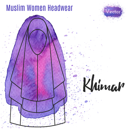 headwear: Muslim woman headwear, Khimar in outline style on abstract watercolor blot with splashes. Muslim traditional female headgear isolated on white background.