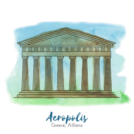 Acropolis in black thin line style on hand painted unique watercolor abstract background. European landmark. Greece, Athens tourist attraction.