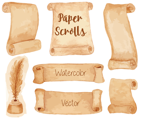inkwell: Set of hand painted watercolor ancient paper scrolls and pen feather in the inkwell. Grunge banners and scrolls. Antique objects, design elements isolated on a white background. Raster illustration. Illustration