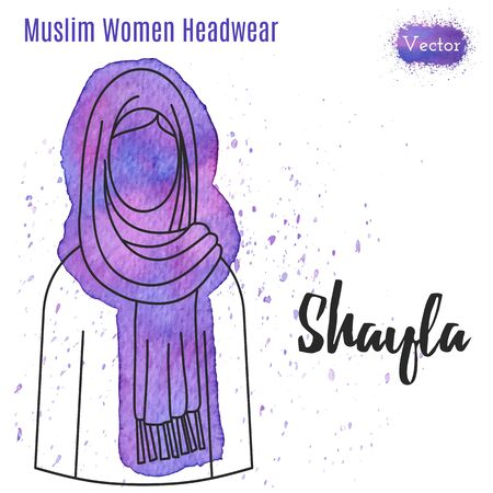 headwear: Arabic woman headwear. Shayla  in outline style on abstract watercolor blot with splashes. Muslim traditional female headgear isolated on a white background. Muslim woman in hijab.