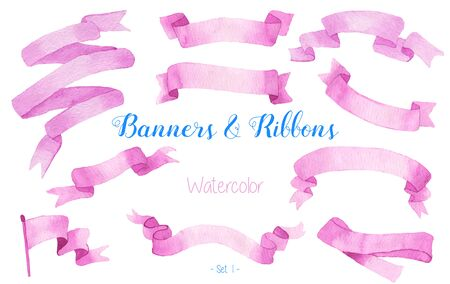 pink ribbons: Set of watercolor pink ribbons and banners for text. Graphic design elements isolated on white background. Hand painted abstract, bright, colorful stripes.