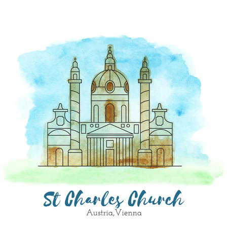 charles: St. Charles Church in black thin line style on hand painted unique watercolor abstract background. European landmark. Austria, Vienna tourist attraction.