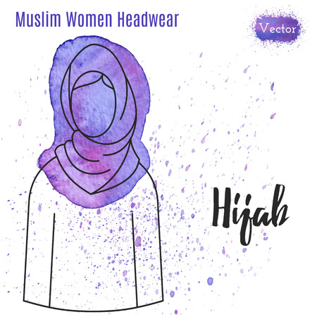 headwear: Arabic woman headwear. Hijab in outline style on abstract watercolor blot with splashes. Muslim traditional female headgear isolated on a white background. Muslim woman in hijab.