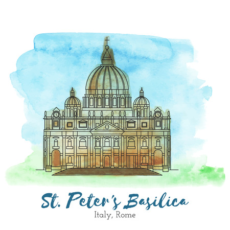 St. Peters Basilica in black thin line style on hand painted unique watercolor abstract background. European landmark. Italy, Rome tourist attraction. Blue, green and brown Ilustração