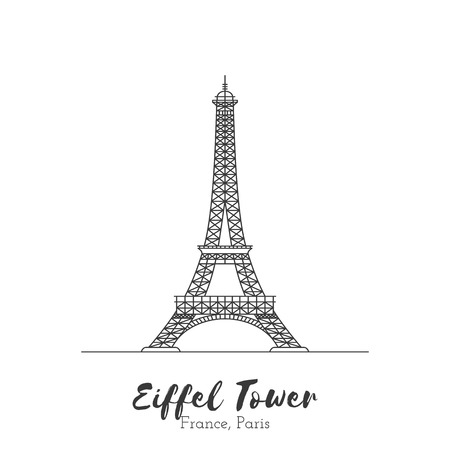 tourist attraction: Paris, France. Eiffel Tower in black thin line isolated on white background. European landmark. Icon architectural monument and world tourist attraction Illustration
