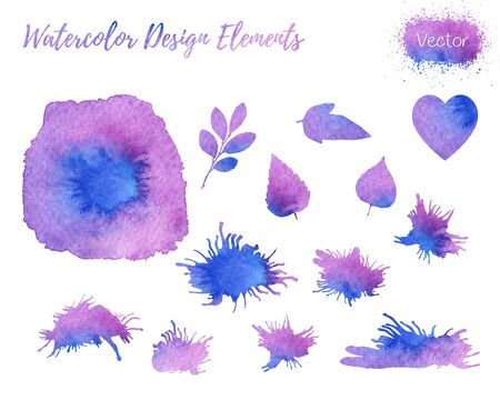 Set of hand painted watercolor design elements. Heart, leaf shapes and paint blots isolated on a white background. Easy to use and edit. Each element is on its own separate layer.