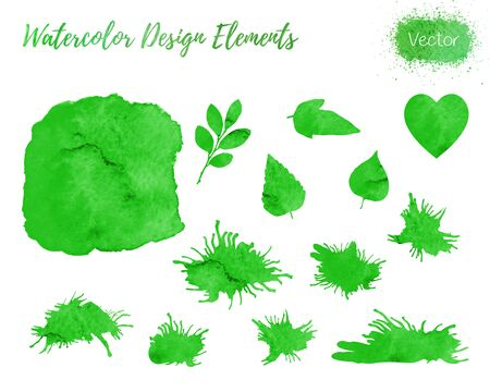 Set of hand painted watercolor design elements. Hearts, leaf shapes and paint blots isolated on a white background.