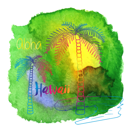 Palm trees, Aloha, Hawaii on abstract hand painted watercolor blot.