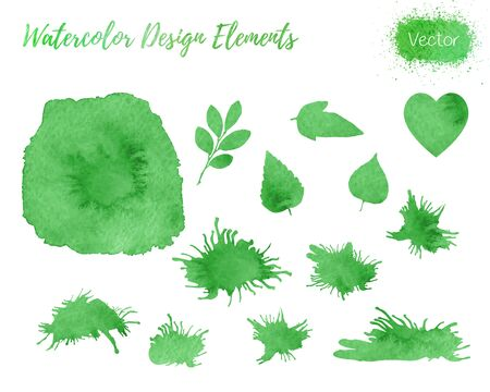 Set of hand painted watercolor design elements. Heart, leaf shapes and paint blots isolated on a white background. 矢量图像