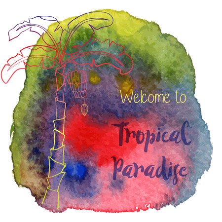 Palm trees, welcome to tropical paradise on abstract hand painted watercolor blot.