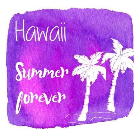 palmetto: Palm tree on a beach. Hawaii summer forever on abstract hand painted watercolor blot. Pink and purple banner.