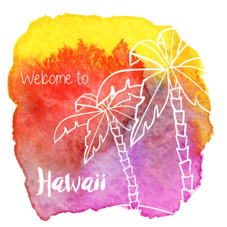 Palm trees, welcome to Hawaii on abstract hand painted watercolor blot.