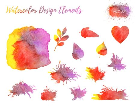 grizzle: Set of hand painted watercolor design elements. Hearts, leaf shapes and paint blots isolated on a white background.