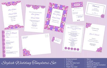 Stylish Wedding Templates Set. Illustration