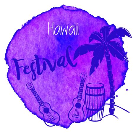 palmetto: Palm tree, pahu, drum, Hawaiian guitars, ukulele on abstract hand painted watercolor blot with wording Hawwai Festival.