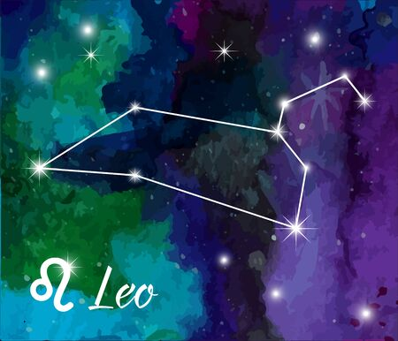 zodiacal symbol: Leo, horoscope star sign on hand painted watercolor abstract galaxy background. Illustration