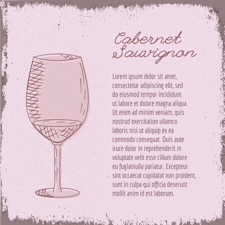 Template with cute hand drawn wine glass. Çizim