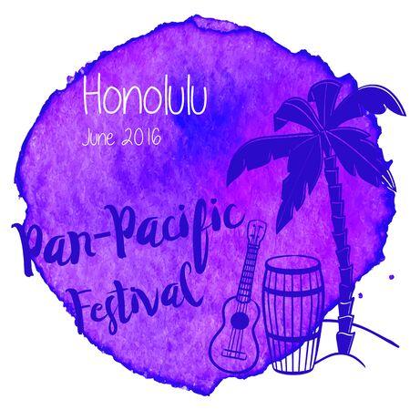 Palm tree, pahu, drum, Hawaiian guitar, ukulele on abstract hand painted watercolor blot. Çizim