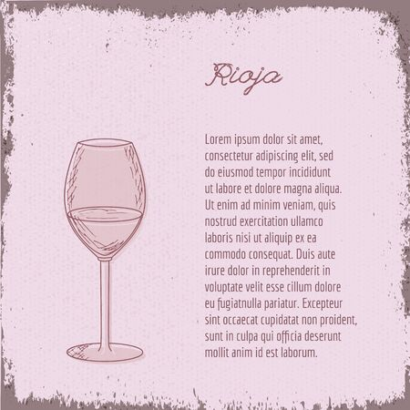 Template with cute hand drawn wine glass. Ilustrace