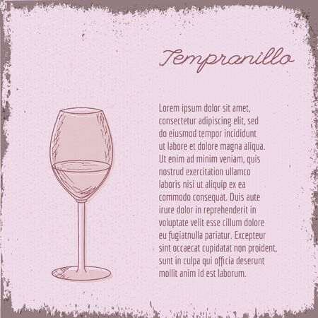 sommelier: Template with cute hand drawn wine glass. Illustration