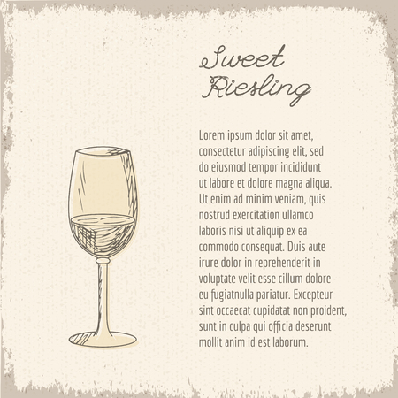 Template with cute hand drawn wine glass. Illustration