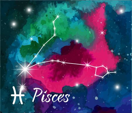 pisces star: Pisces, horoscope star sign on hand painted watercolor abstract galaxy background.