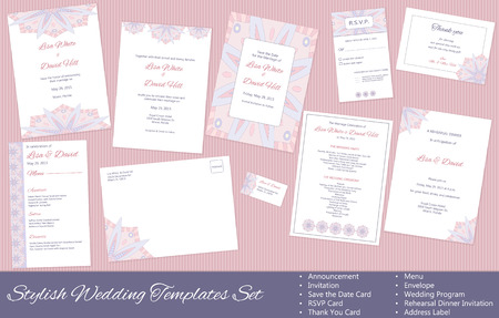 Stylish Wedding Templates Set. Announcement. Invitation. Save the Date, RSVP, Thank You Card, Menu, Envelope, Wedding Program, Rehearsal Dinner Invitation, Address Label.