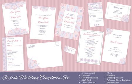rehearsal: Stylish Wedding Templates Set. Announcement. Invitation. Save the Date, RSVP, Thank You Card, Menu, Envelope, Wedding Program, Rehearsal Dinner Invitation, Address Label.