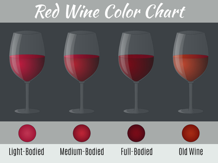 Red wine color chart. Hand drawn wine glasses. Stock Illustratie