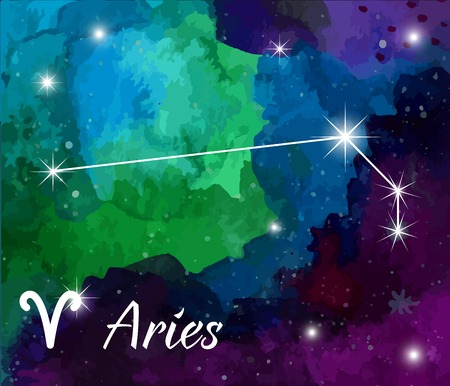 Aries, horoscope star sign on hand painted watercolor abstract galaxy background.