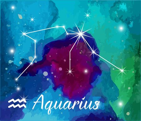 Aquarius, horoscope star sign on hand painted watercolor abstract galaxy background.
