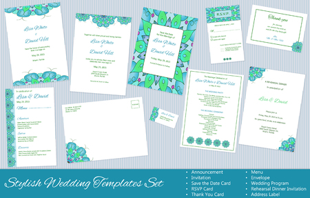 Stylish Wedding Templates Set. Announcement. Invitation. Save the Date, RSVP, Thank You Card, Menu, Envelope, Wedding Program, Rehearsal Dinner Invitation, Address Label.
