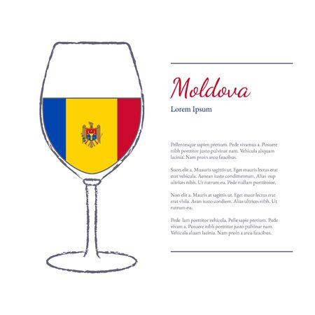 cepillo áspero acarició la copa de vino con la bandera nacional de Moldova, elaboración del vino arriba país. Elementos de diseño gráfico aisladas sobre fondo blanco. Plantilla con lugar para el texto.