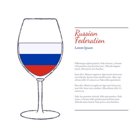 Rough brush stroked wine glass with National flag of Russia, top wine making country. Graphic design elements isolated on white background.