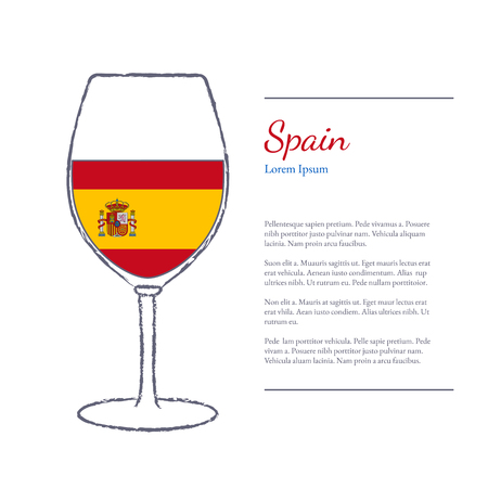 Rough brush stroked wine glass with National flag of Spain, top wine making country. Graphic design elements isolated on white background. Template with place for your text. Stock Illustratie