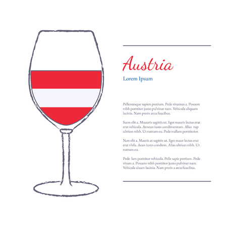 Rough brush stroked wine glass with National flag of Austria, top wine making country. Graphic design elements isolated on white background. Template with place for your text. Illustration