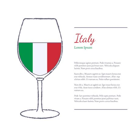 stroked: Rough brush stroked wine glass with National flag of Italy, top wine making country. Graphic design elements isolated on white background. Template with place for your text. Illustration