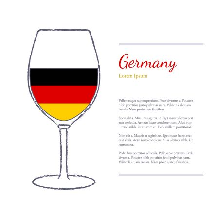 stroked: Rough brush stroked wine glass with National flag of Germany, top wine making country. Graphic design elements isolated on white background.
