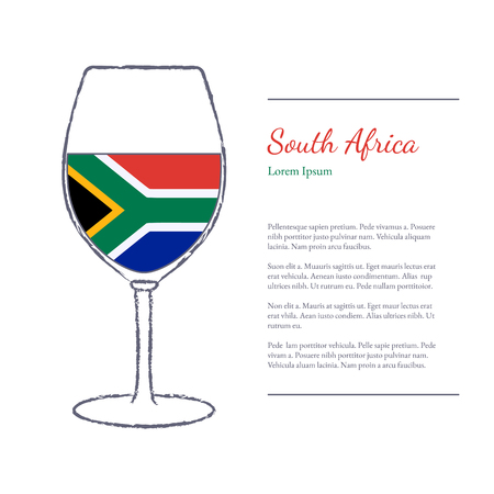 stroked: Rough brush stroked wine glass with National flag of South Africa, top wine making country. Graphic design elements isolated on white background.