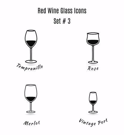 Conjunto de iconos en el fondo blanco. Variación de vasos de vino detalladas dibujados a mano. Ilustración de estilo moderno y limpio contorno. Foto de archivo - 61427939