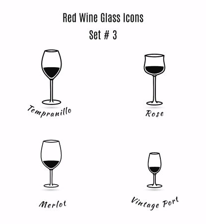 Set of icons on white background. Variation of detailed hand drawn wine glasses. Illustration in modern and clean outline style.