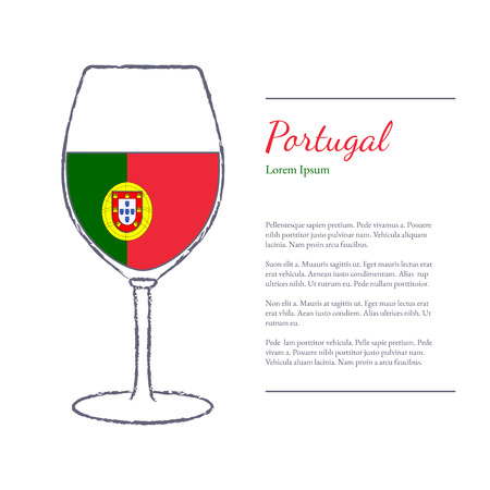 sommelier: Rough brush stroked wine glass with National flag of  Portugal, top wine making country. Graphic design elements isolated on white background.